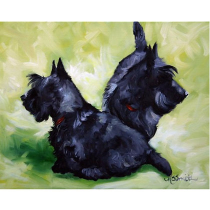 PRINT Black Scottish Terrier Scottie Dog Puppy Art