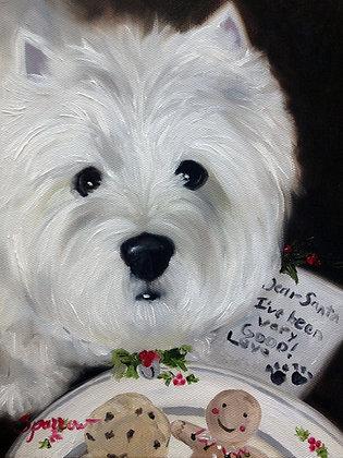 PRINT West Highland Terrier Dear Santa