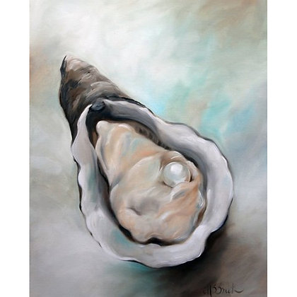 PRINT Oyster Art Oil Painting Sea Ocean Pearl