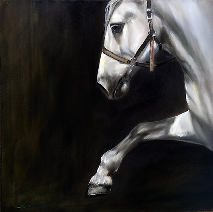 Oil Painting Into the Light Arabian Horse