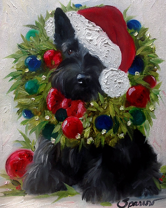 PRINT Black Scottish Terrier Christmas Wreath