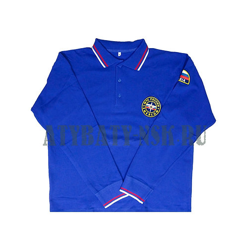 Рубашка поло МЧС (длинный рукав) с печатью на спине