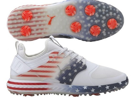 PUMA PWRADAPT CAGED STARS AND STRIPES GOLF SHOES