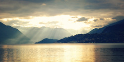 View Of Lago Di Como On Sunset - Vintage Effect. Varenna, Italy.