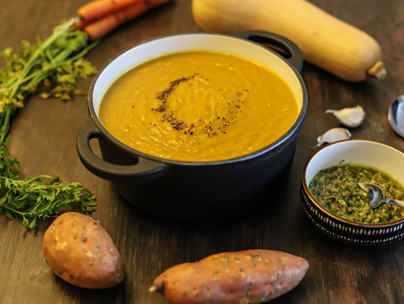 Pumpkin & Butternut Squash Soup with Carrot Top Pesto