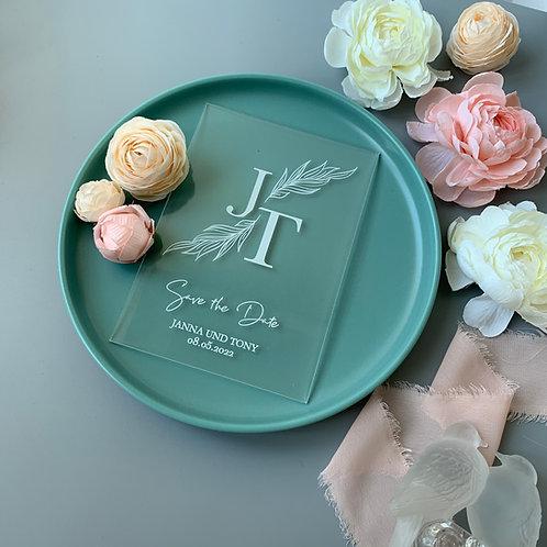 Acrylic Save the Date Card, Clear Invitations, Invite on Acrylic, transparent invitation