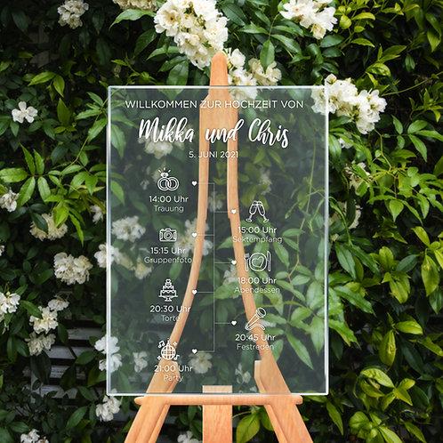 Acrylic timeline, Acrylic wedding day agenda