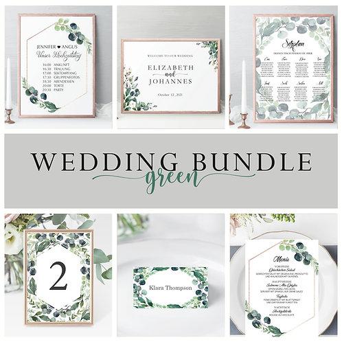 Modern Wedding Bundle, Wedding Essential, Stationery bundle wedding, green themed wedding stationery