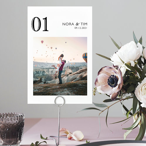 Wedding Couple Photos Table Number Cards 1-15, Table Number add personal photos