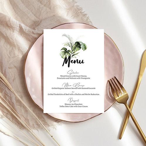 Tropical leafs Menu Card, print yourself, rectangular menu, greenery menu template