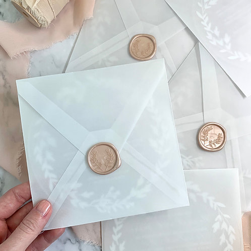 Acrylic invitation card with translucent envelope and wax seal