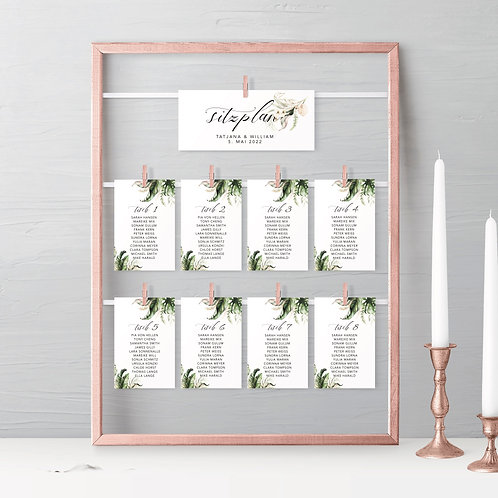 Seating Plan with greenery, Leafs Wedding seating chart, guest seating chart template elegant