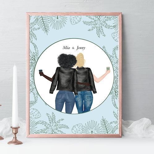 Best friends Illustrations, friends portrait, friends gift, birthday gift stars, drawing Gift, friendship celebration gift, gift idea