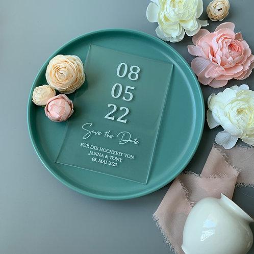 wedding invite, birthday invitation, acrylic save-the-date card