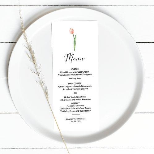 Elegant Menu Card Design with tulip , print yourself, flower tulip menu template