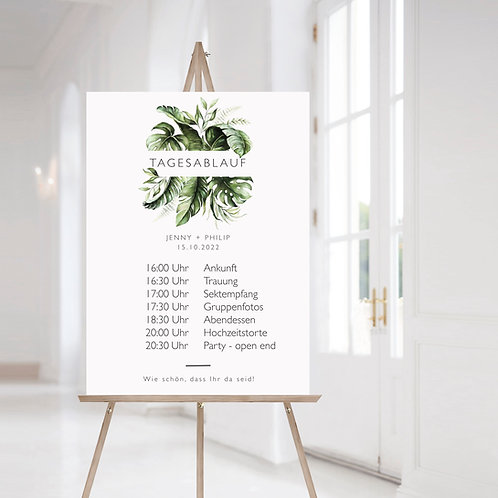 Wedding Day Timeline, Sign including Schedule of Events