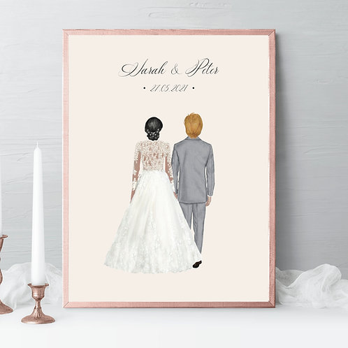 Wedding couple Illustrations, bride groom portrait, wedding gift, couple Portrait, drawing Gift, husband and wife gift, gift idea