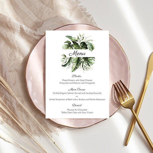 rectangular menu, greenery menu template, Wedding Dinner, Birthday Dinner Menu