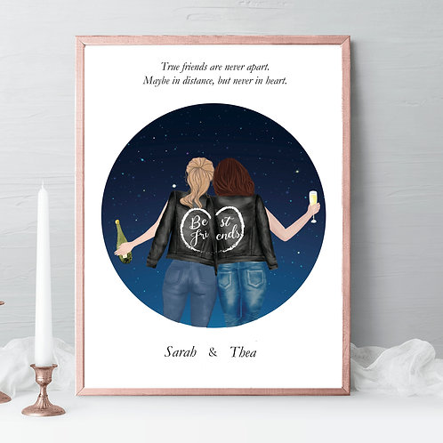 Best friends Illustrations, friends portrait, friends gift, birthday gift, to the moon and back, friendship celebration gift, gift idea