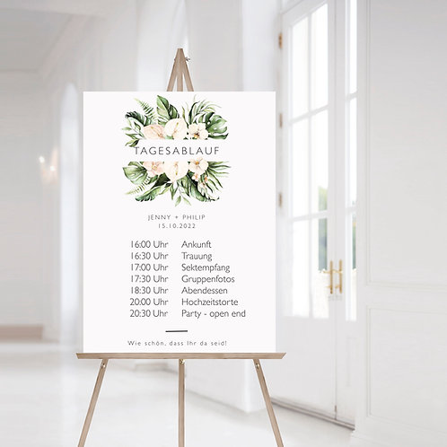 Order of Events for your Wedding, orchid tropical leaf wedding day agenda