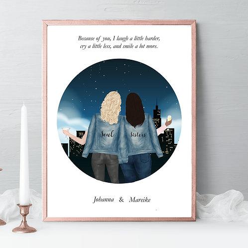 Best friend Illustration, friends portrait, friends gift, birthday gift palm tree, drawing Gift, friendship celebration gift, gift idea