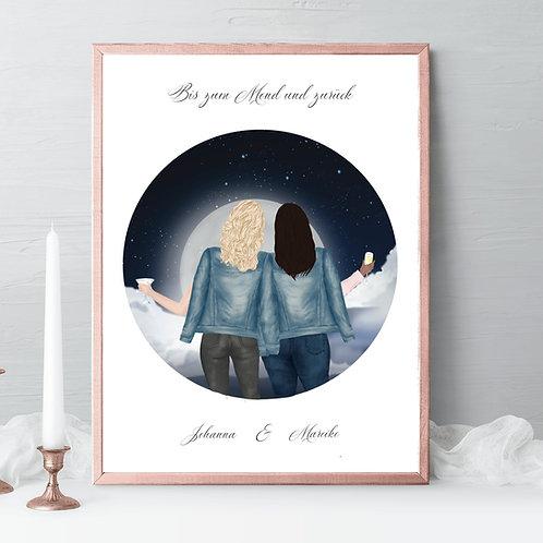 Best friends Illustrations, friends portrait, friends gift, birthday gift skyline, drawing Gift, friendship celebration gift, gift idea