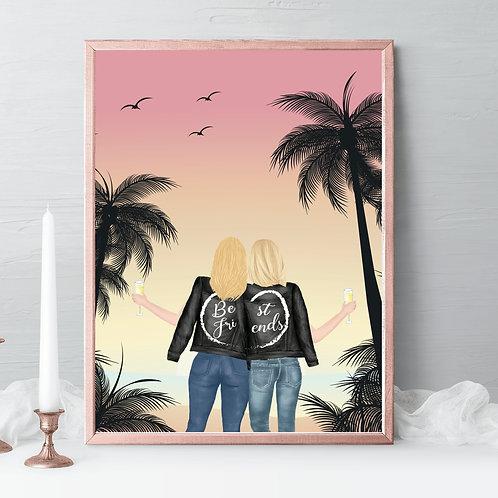 Best friends Illustrations, friends portrait, friends gift, birthday gift beach, palm tree, friendship celebration gift, gift idea