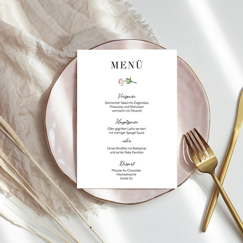 Watercolour Light Pink Flower Menu Card, print yourself, rectangular menu