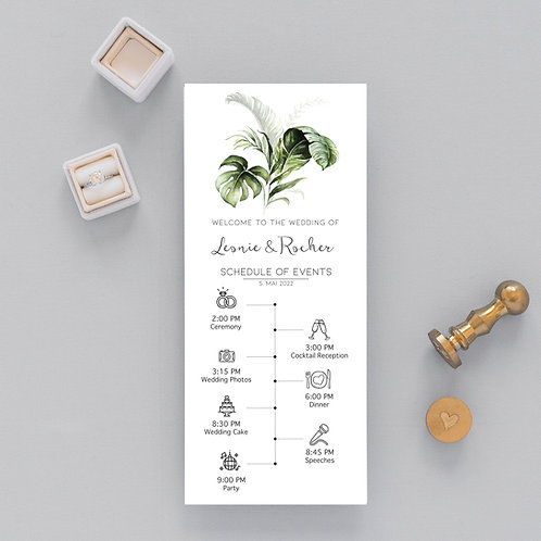 Wedding Day Timeline orchid, Schedule of Events, Editable Order of Events tropical leafs