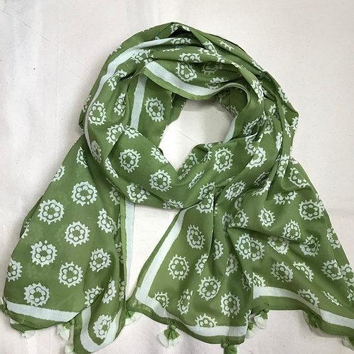 Scarf48 Green Phool