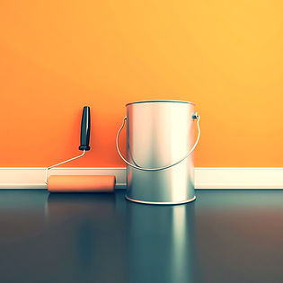 Paint tin and roller brush with orange paint