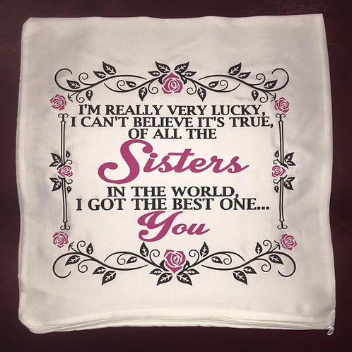 "Cushion Cover ""Sisters"" Quote"