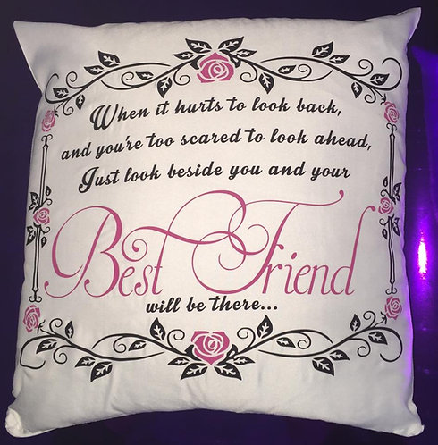 """Cushion Cover """"Best Friend"""" Quote"""