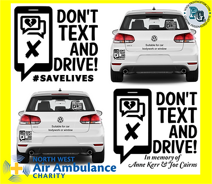 """Don't text & drive"" Bumper Stickers"
