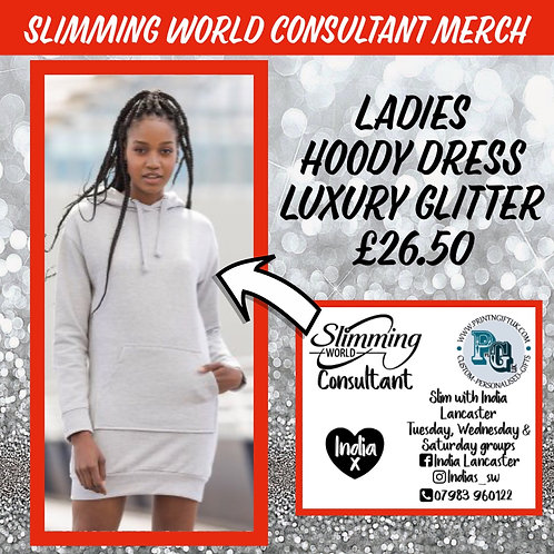 Slimming World Consultant Girlie Hoody Dress LUXURY GLITTER VINYL