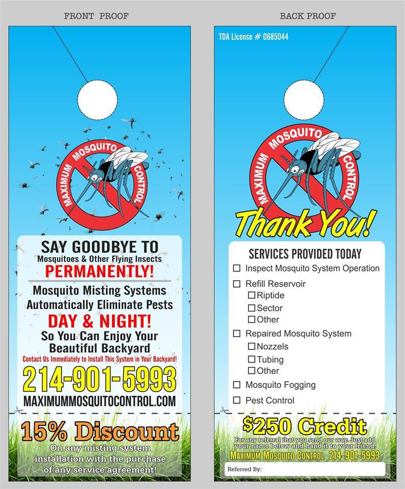 Maximum Mosquito Control door hanger