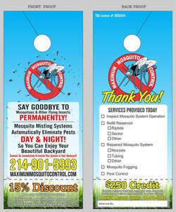 Maximum Mosquito Control door hanger