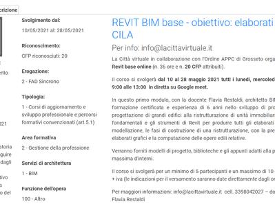 Corso on Line REVIT base aperto a tutti gli iscritti degli Ordini degli Architetti