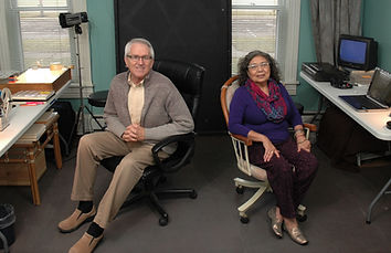 Mary and Bill Gordon, owners of Photomaker Digital Conversions, at work in their studio.