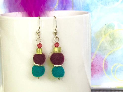 Felt ball, Crystal and Silver Finding Earrings