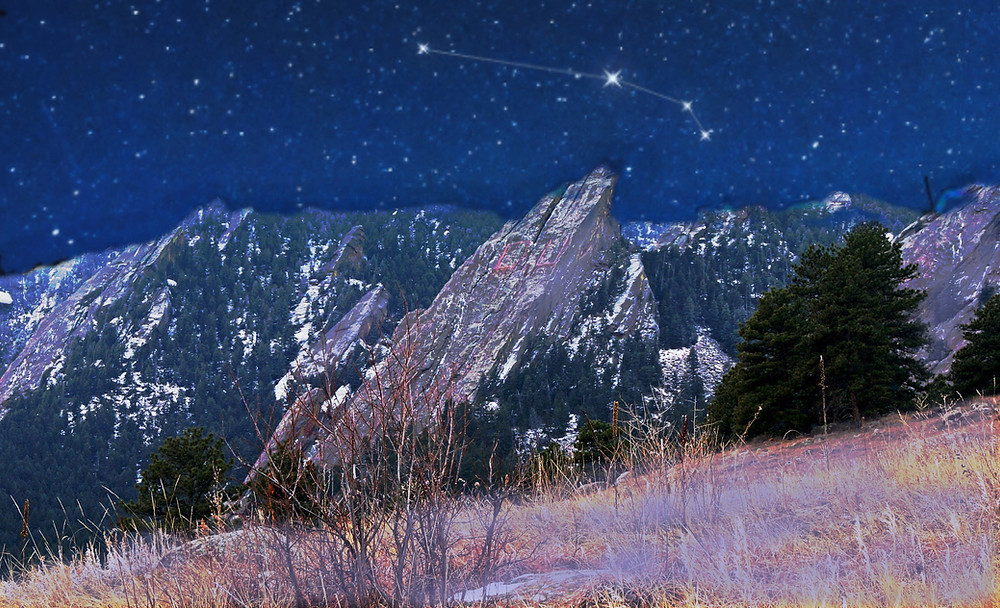 Flatirons Boulder, with Aries constellation