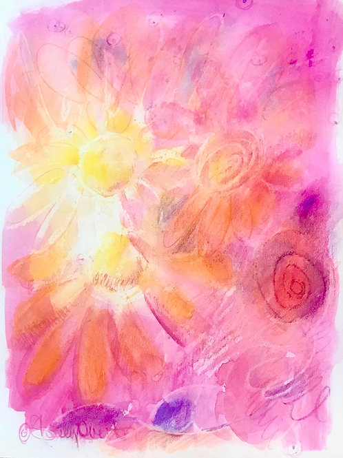 Bright Yellow and Pink Daisies Print
