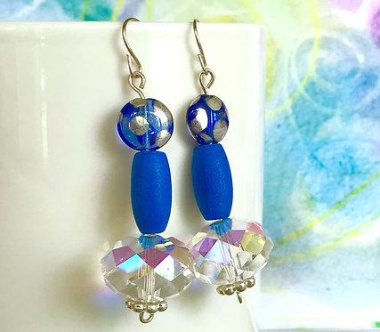 Polka Dot Bead, Wood Bead and Crystal Drop Earrings