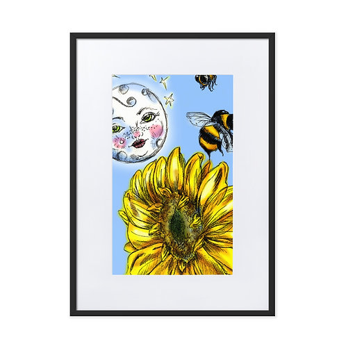 Moon, Bees, Sunflowers Matte Paper Framed Poster With Mat