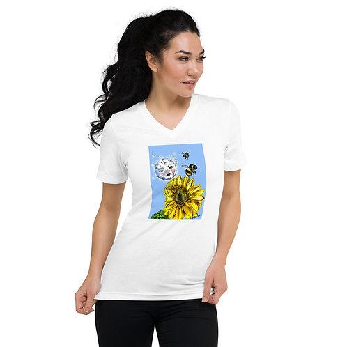 Moon, Bees, Sunflower V-Neck T-Shirt