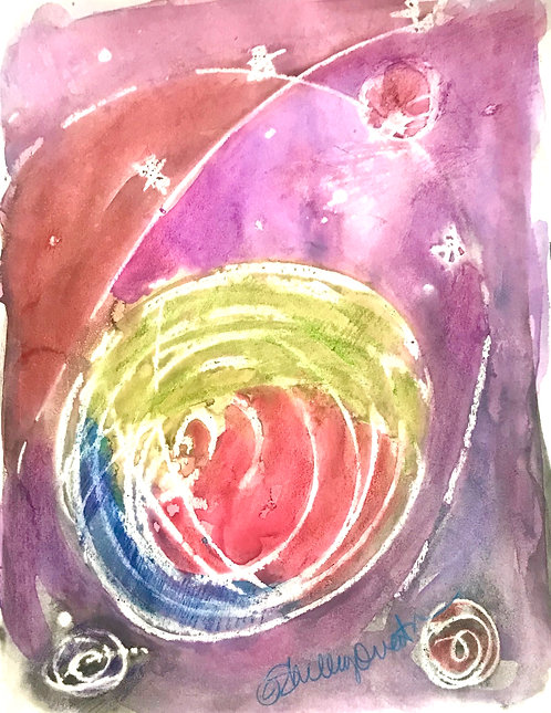 Planets in Space Abstract Print