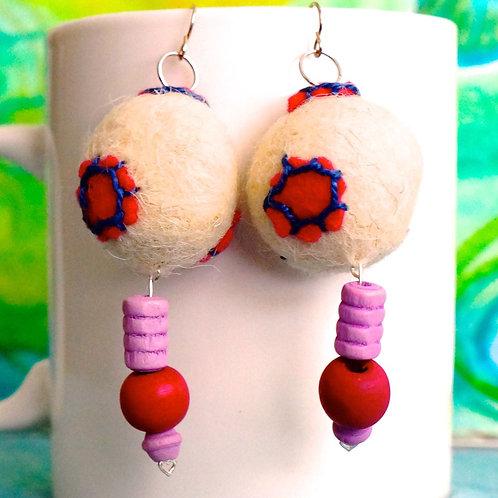 Whimsical Fuschia and Cream Felt Ball Earrings