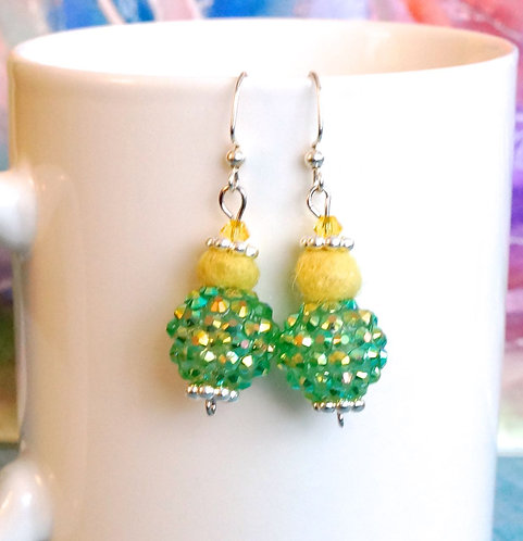 Green Sparkle Bead with Yellow Felt Ball Earrings