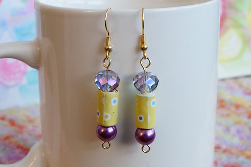 Violet Crystal and Glass Pearl Drop Earrings