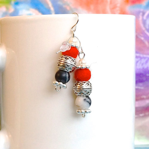 Red, Black and Silver Earrings